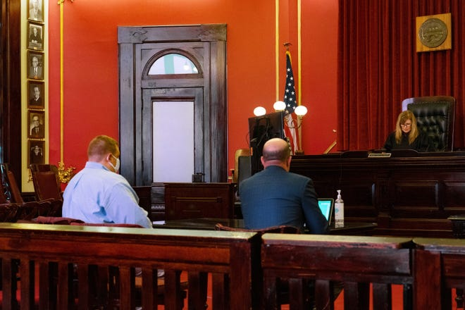 Dustin Addington pleads not guilty to all charges during his arraignment before Judge Tina Boyer in Perry County Common Pleas Court on Friday.