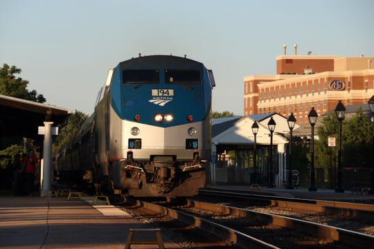 Amtrak makes a station stop at Alexandria, Virginia, on Aug. 7, 2016.