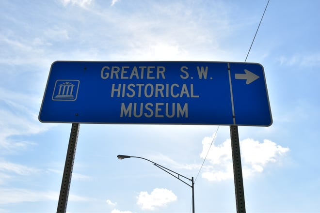 A sign on West Broadway Street directs motorists to the Greater Southwest Historical Museum on Friday. The Ardmore museum has been closed since March 13 to protect visitors and staff from the new coronavirus, according to museum director Wesley Hull.