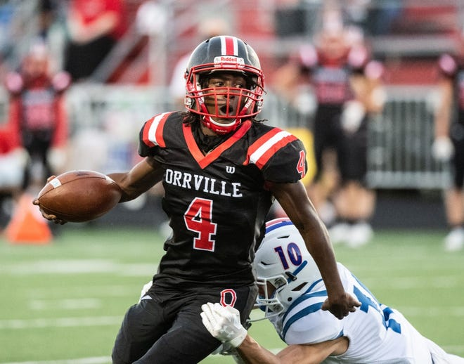 Orrville's Chris Smith performed well as the Red Riders' feature back, rushing for 71 yards and a touchdown in a 17-13 win over Tuslaw.