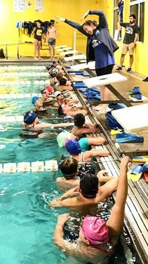 An instructor leads a swim class inside the indoor aquatics facility at Muletown Rec in Columbia, Tenn.