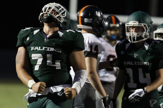 West Burlington-Notre Dame's Kenyon Boyd (74) after the the team recovered a fumbled ball during the first half of their game against Fairfield High School, Friday Sept. 4, 2020 at West Burlington's Bill Nelson Field.