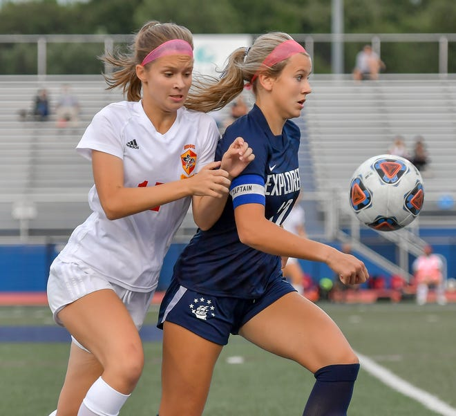 Hudson captain Ally Campanella controls the ball during the Explorers' 2-0 home loss to Brecksville-Broadview Heights Sept. 2.