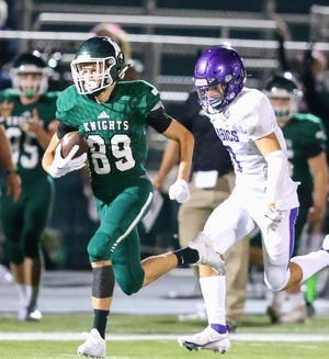 Nordonia wide receiver Matt Hayes breaks loose for a 67-yards touchdown during the Knights' 41-40 win over Barberton Sept. 4 at Boliantz Stadium.