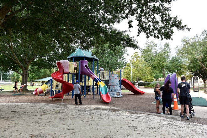 The playground is open again at Honeycutt Park in Fayetteville on Saturday.