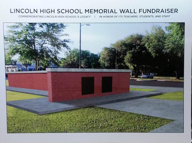 Artist's rendering of the proposed former all-Black Lincoln High School Memorial Wall. [Submitted photo]