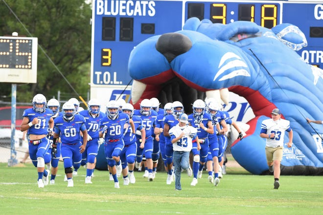 The Coleman football team takes the field during the 2020 season.