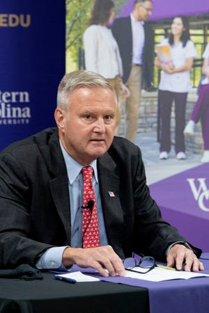 "Moe Davis, the democratic candidate for North Carolina Congressional District 11, answers questions during the ""Best in the West"" candidate forum at Western Carolina University's Biltmore Park campus on Sept. 4, 2020"
