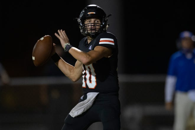 Orange Grove's quarterback Cutter Stewart throws a pass during the second quarter of their game against Odam at Orange Grove on Friday, Sept. 4, 2020