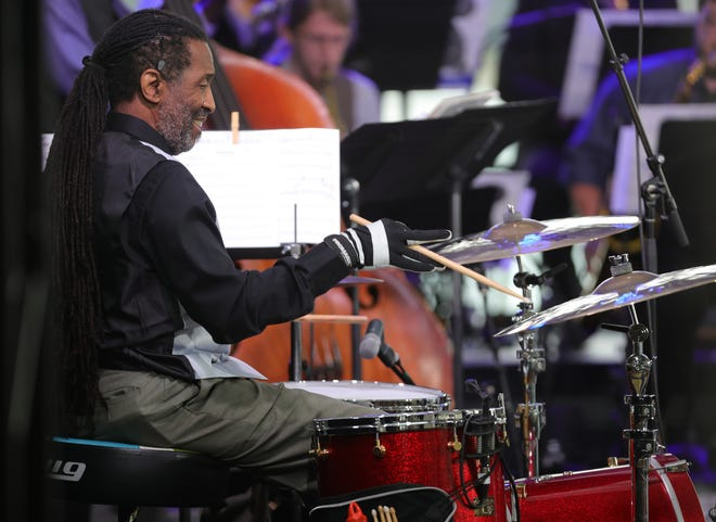 Drummer Dr.Prof. Leonard King and his Orchestra perform on the Absopure Sound Stage during the Detroit Jazz Festival held at the Renaissance Center on September 5, 2020.