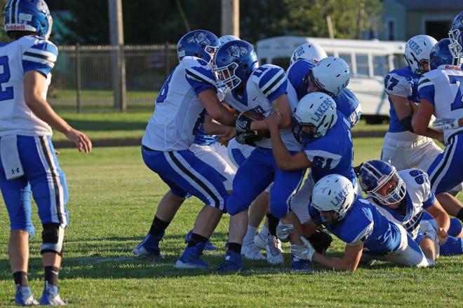 Danbury's Brandon Wunder makes the tackle.