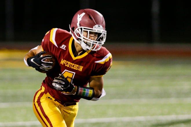 McCutcheon's Josh Garcia (4) runs the ball during the fourth quarter of an IHSAA football game, Friday, Sept. 4, 2020 in Lafayette.