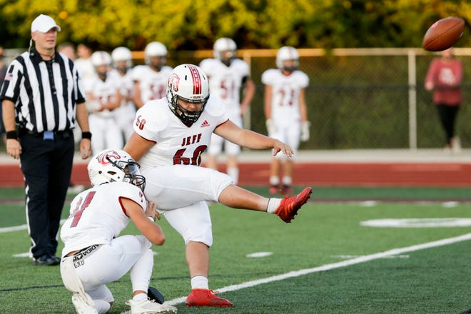 Lafayette Jeff's Eliaz Marquez (60) kicks in an extra point during the second quarter of an IHSAA football game, Friday, Sept. 4, 2020 in Lafayette.