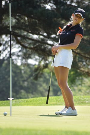 Maggie Pietila of Brighton shot 75 to share first place at the Patriot Cup.