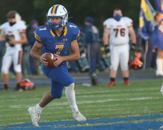 Ontario's Ethan Snyder broke the single-season record for passing touchdowns, yards, attempts, completions and completion percentage in Warrior football program history.