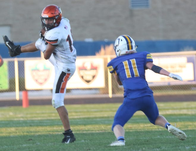 Lucas' Ethan Sauder hauls in a pass during a win over Ontario last week.