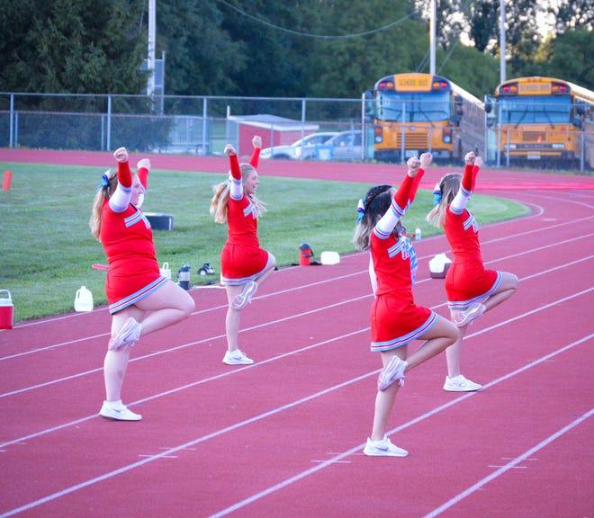 Ridgedale's cheerleaders perform during last week's game against Hardin Northern. The Week 3 Friday night football scoreboard is below.