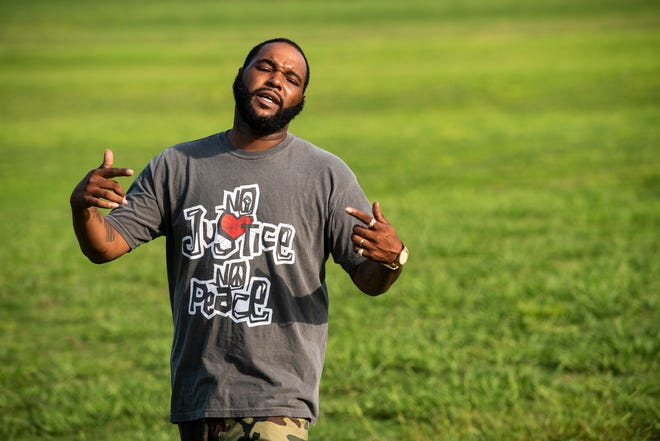 """Montgomery rapper LoopBoi Twin shoots a music video for his song """"I Don't Know"""" at Alabama Shakespeare Festival Park in Montgomery, Ala., on Friday, Sept. 4, 2020."""