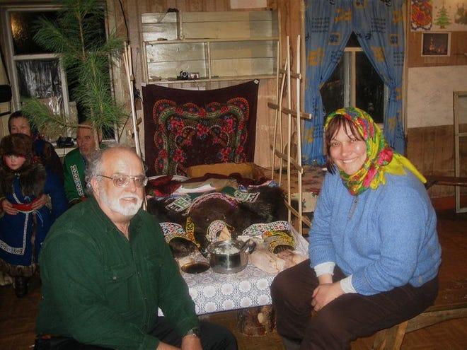 Andrew Wiget and his wife and colleague, Olga Balalaeva, at the 2010 Yugan Bear Festival.