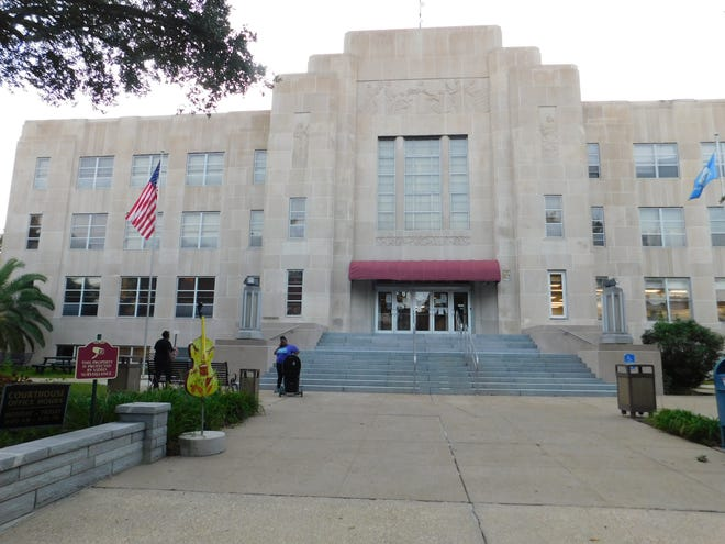 St. Landry Parish Courthouse following a soft chemical exterior cleaning process paid for by the Opelousas Downtown Development District.