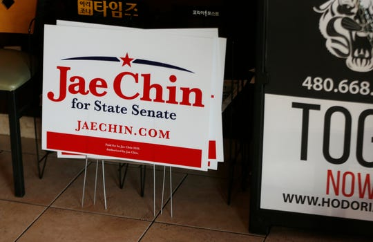 Signs for Jae Chin, Republican candidate for state senate LD 26, inside Hodori Korean restaurant in Mesa, Ariz. on August 3, 2020.