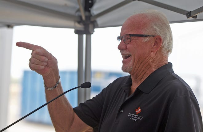 Jay Hasbrouck, owner of the Double J Meat Packing company, shares a laugh with guests in attendance at an event celebrating the opening of the new lamb processing facility near San Angelo on Friday, Sept. 4, 2020.