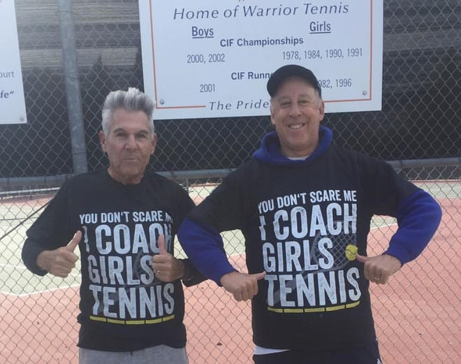 Westlake High head tennis coach Scott Yasgoor, right, says assistant coach Joe Tomasello, left, is still unable to speak after being on a ventilator after contracting the coronavirus.