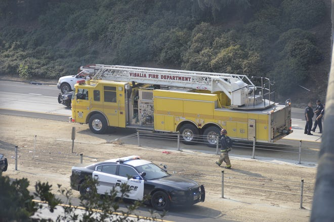 First responders respond to a call on Highway 198 on Sept. 5, 2020 in Visalia.