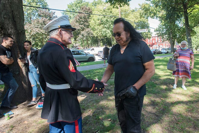 """Emmett Shaffer, 86, of Chippewa Township, meets Pete """"Gene"""" Galvan of Ambridge during a combined Support Our Troops and Let's Roll/Never Forget 9/11 rally last year at Irvine Park in Beaver. This year's event will be Saturday in Beaver."""
