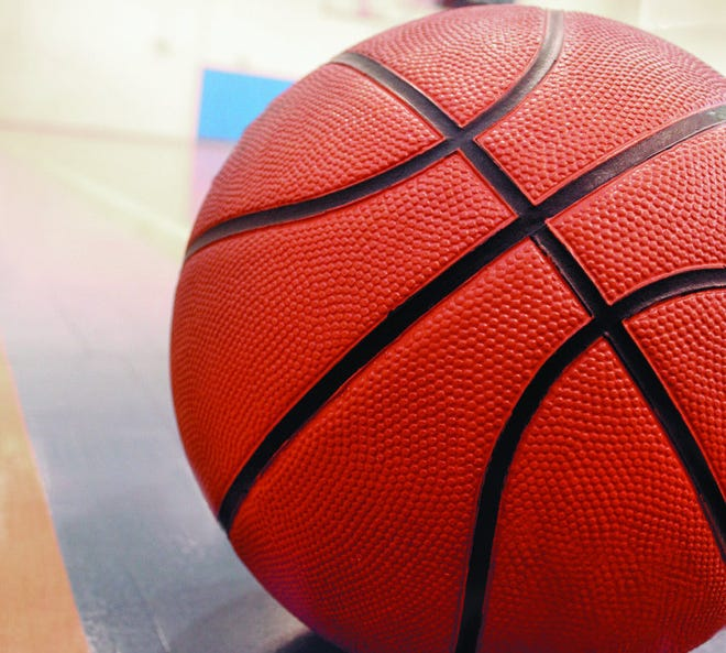 A basketball on a court.