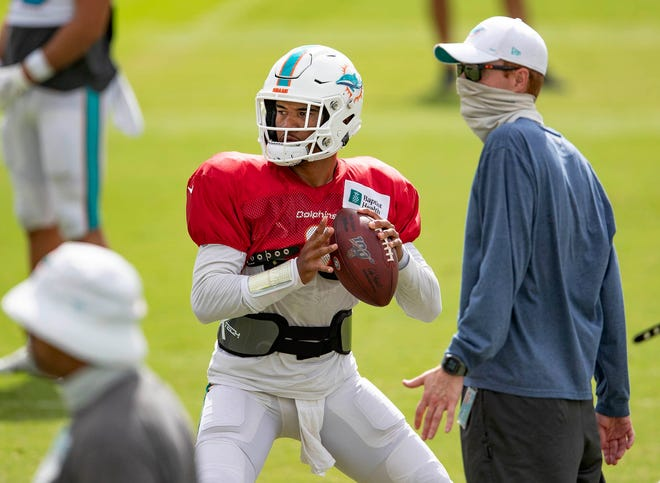 Miami Dolphins quarterback Tua Tagovailoa at training camp August 26, 2020.  [ALLEN EYESTONE/The Palm Beach Post]
