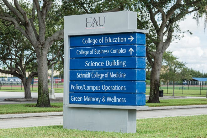 Florida Atlantic University directional signage on the FAU campus in Boca Raton, Tuesday, August 11, 2020. [JOSEPH FORZANO/palmbeachpost.com]