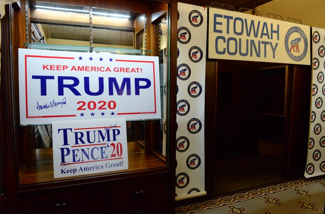 Part of the interior of the Etowah County GOP headquarters in downtown Gadsden is seen on Friday.