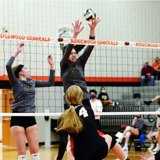 Ashley Newell, of River View, goes up for a block during a four-set loss against host Ridgewood on Saturday in West Lafayette.