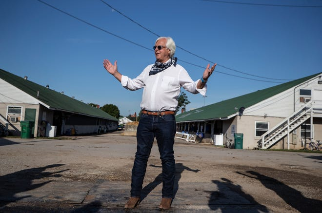 Trainer Bob Baffert paid a day-after visit to Authentic, winner of the Kentucky Derby. The win is a record-tying sixth victory for Baffert. Sept. 6, 2020