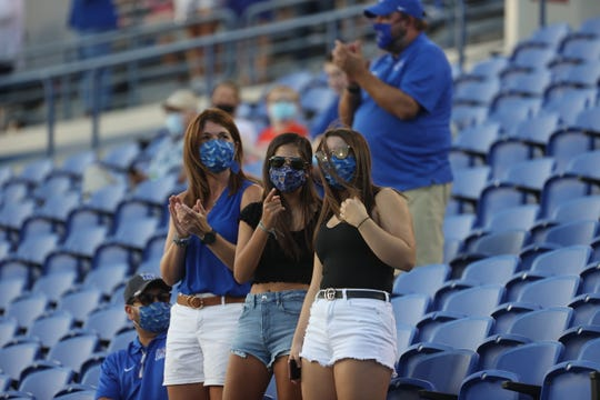 Fans watch as the Memphis Tigers take on the Arkansas State Red Wolves during their game at Liberty Bowl Memorial Stadium on Saturday, Sept. 5, 2020.