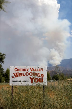 The El Dorado Fire burns in the San Bernardino National Forest near Cherry Valley, Calif., on Sunday, September 6, 2020.