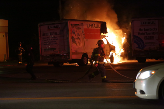 A U-Haul truck was set on fire in the parking lot at JRibs, at State and Brown streets, early Sunday morning. The fire lasted a few minutes before firefighters arrived and put it out.