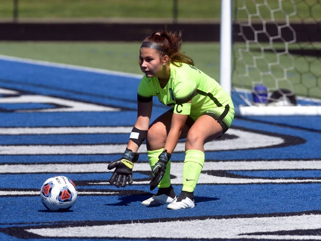 Rhyle Antonetz makes a save during the second half of Zanesville's 2-0 win against Tri-Valley on Saturday at John D. Sulsberger Memorial Stadium. Antonetz recorded the shutout.