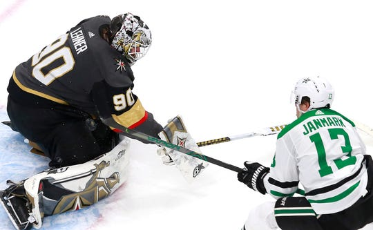 Robin Lehner and the Vegas Golden Knights defeated the Dallas Stars in a round-robin game last month.