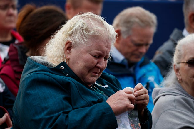 In this file photo, family members of Flight 93 listen during the 9/11 Flight 93 Memorial Service on Sept. 11, 2018, in Shanksville, Pa. This year's 19th-anniversary ceremony will be private, but live-streamed.