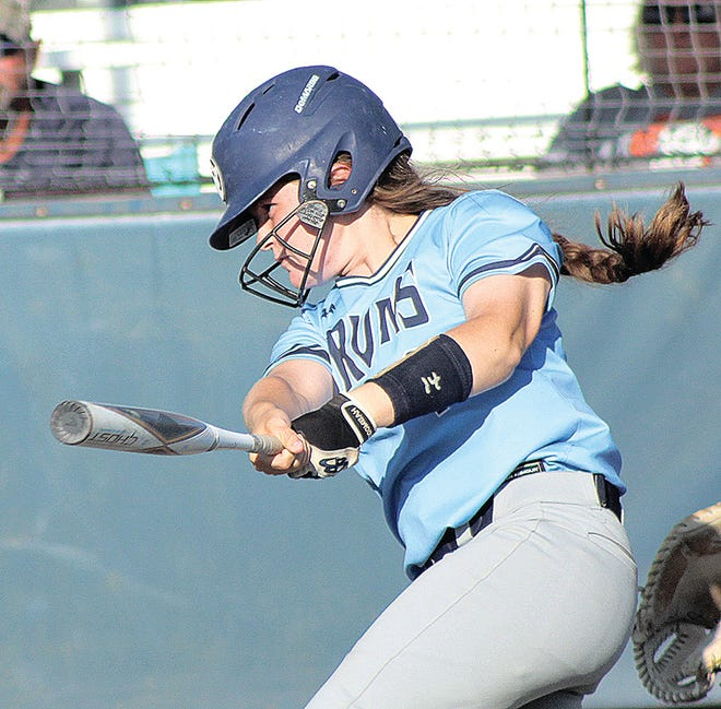 Bartlesville High softball player Chealsea Goddard takes a big cut during varsity action last month at the Lady Bruin Complex.