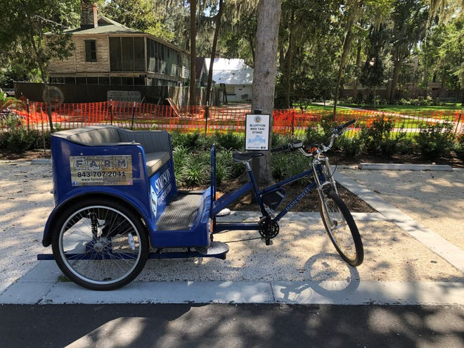 Free bike taxis are now available in the Old Town Bluffton historic district on four evenings a week. There are pickup locations at Martin Family Park and Wright Family Park, seen here, but clients can call for a pickup anywhere in the district.