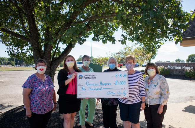 The Follies Family presents a check for $10,000 to Genesis Hospice Care. Pictured left to right is Vicki McConnell, Genesis Volunteer; Pebbles Thornton, director, Genesis Hospice and Genesis Palliative Care; Joan Hennen, Genesis Volunteer; Ann Knight, Genesis Volunteer; Charlotte Snider, Follies; and Lori Junk, manager, Genesis Hospice.