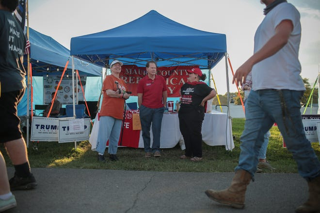 Sen. Joey Hensley, R-Hohenwald, meets with constituents at the Maury County Fair and Exposition in Columbia, Tenn.,  on Saturday, Sept. 5, 2020.
