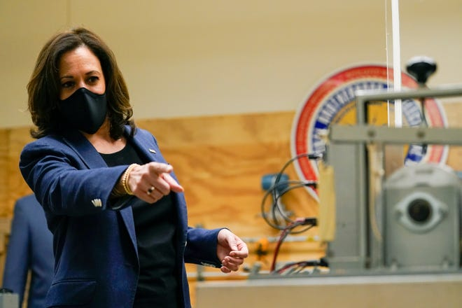 Democratic vice presidential candidate Sen. Kamala Harris, D-Calif., speaks during a tour of the IBEW 494 training facility Monday in Milwaukee.