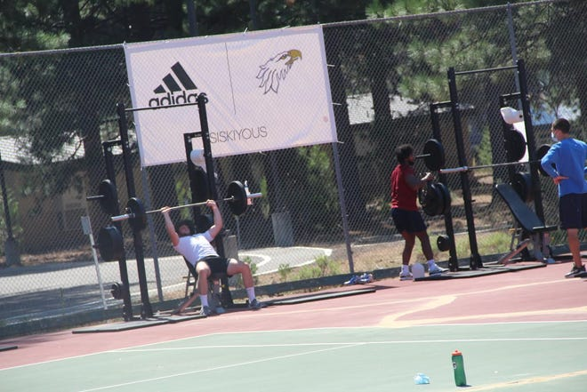 College of the Siskiyous athletes have transformed the old tennis courts into an outdoor training facility to use during the COVID-19 pandemic.