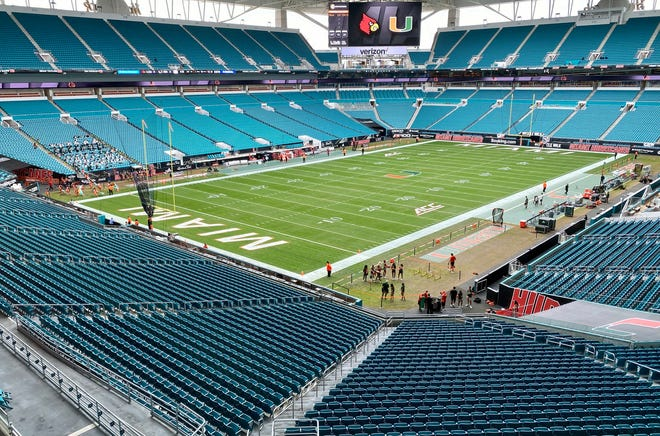 Hard Rock Stadium is limiting crowds to 13,000. The University of Miami will not allow students to attend at least the first two games. [Steve Mitchell-USA TODAY Sports]