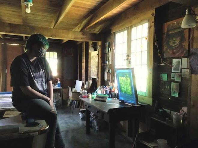 """ARTISTIC LICENSE: After Tufts University told students they had to leave last March, art student Rachel Prull converted the barn in the backyard of her parents' home in Walla Walla, Washington into an art studio. """"I was super lucky."""" (Photo courtesy of Augusta Sparks Farnum)"""
