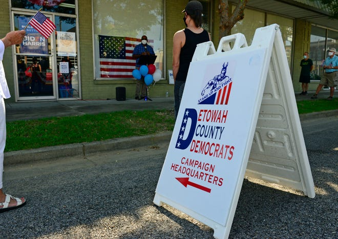 A sign stands outside the Etowah County Democratic Headquarters in downtown Gadsden during a ribbon cutting on Sunday.